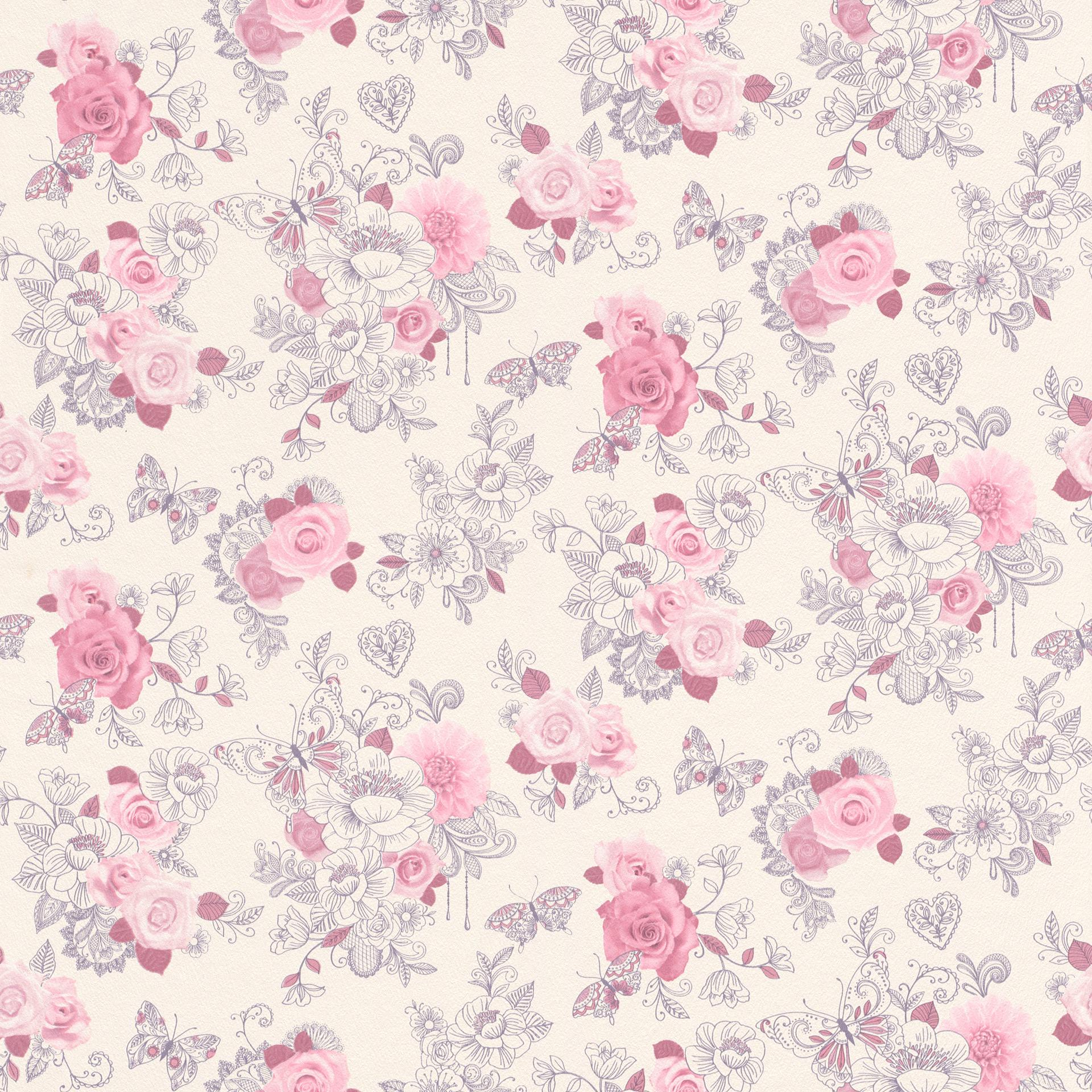 Blumen Tapete Rasch 202304 Papier Tapete Blumenschmetterling Rosa
