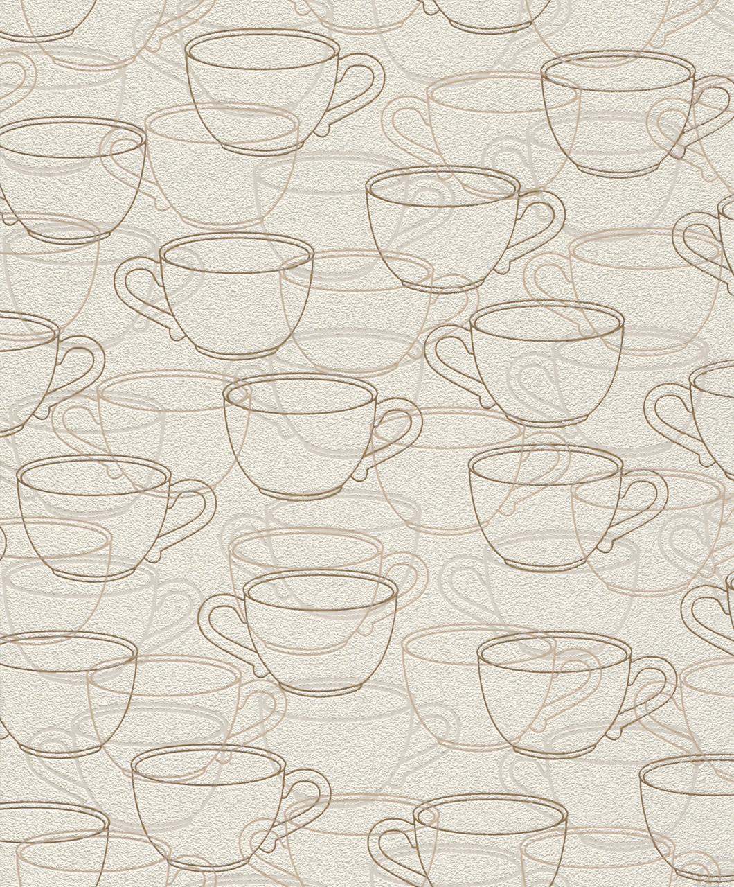 Küchen Vliestapete 459715    Tasse  beige   Kaffee