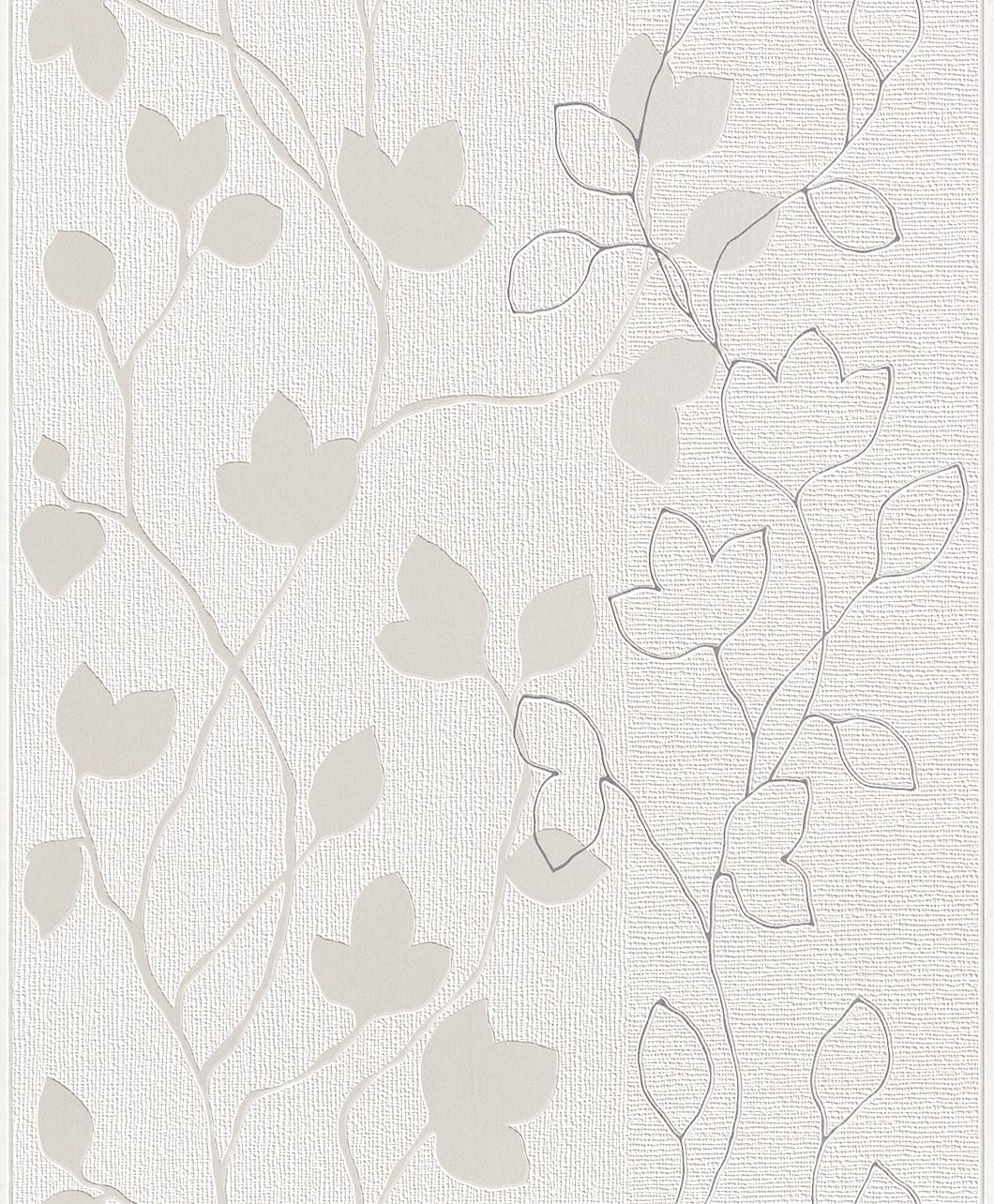Blumen Tapete weiß/silber - Rasch 770209 - NEU