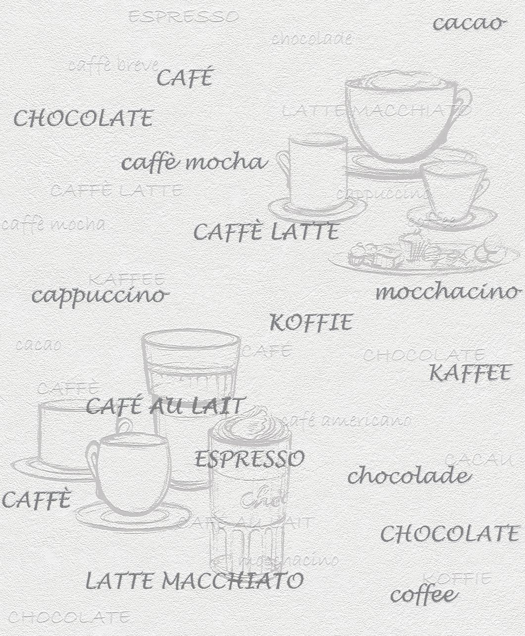 Rasch Vliestapete 770421 Aqua Déco  Küche grau silber weiss Kaffee